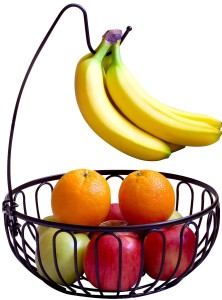 DecoBros Wire Fruit Tree Bowl with Banana Hanger, Bronze