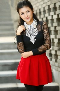 Elufly Lady's Removable Tassel Long Style Lace Shirt Fales Fack Collar