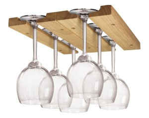 Fox Run Brands Wine Glass Rack, Wood, Adjustable Under Cabinet Installation