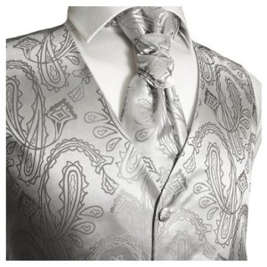 Paul Malone Wedding Vest Set Silver Paisley