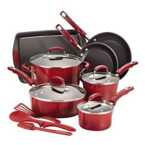 Rachael Ray 14-Piece Hard Enamel Nonstick Cookware Set, Red