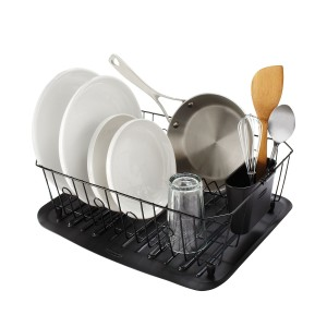 Rubbermaid Antimicrobial Dish Drainer With Silverware Cup, Large, Black
