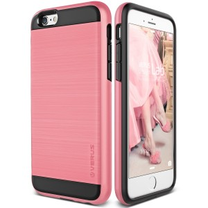 iPhone 6S Plus Case, Verus [Verge][Rose Pink] - [Brushed Metal Texture][Heavy Duty][Maximum Drop Protection][Slim Fit] - For Apple iPhone 6 Plus an