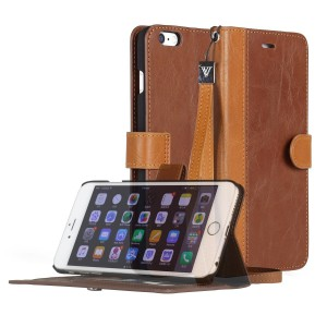 iPhone 6S Plus Case, [Wallet Case] AceAbove Stand Apple iPhone 6S Plus Case [KickStand] Leather Cover with Credit Card ID Holders (Dark Brown) for