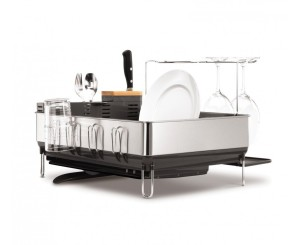 simplehuman Steel Frame Dishrack with Wine Glass Holder, Stainless Steel