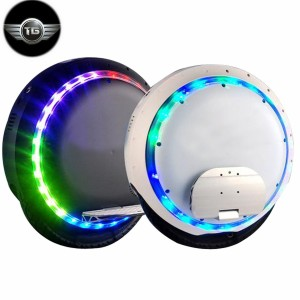 Brand-box Electric Self Balancing Unicycle Scooters with LED Light and Bluetooth (F-white)