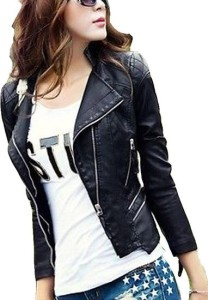 Fengbay Women Short Paragraph Leather Jacket