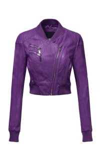 Luna Flower Women's Sexy Faux Leather Zip Up Long Sleeve Moto Crop Jackets