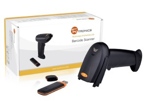 TaoTronics 2.4G Wireless Cordless Handheld Barcode Bar Code Scanner Reader Kit - Black, 32-bit Decoder, Anti-interference, Mobile Moveable, Optical L