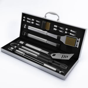BBQ Grill Tools Set with 16 Barbecue Accessories -Perfect Christmas Gifts Idea -Stainless Steel Utensils with Aluminium Case- Men Complete Ou