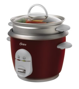 Oster 4722 3-Cup uncooked resulting in 6-Cup cooked Rice Cooker with Steaming Tray, Red