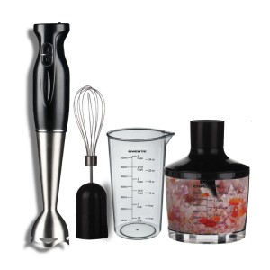 Ovente HS585B Stainless Steel Immersion Hand Blender Set (Black, with Chopper)