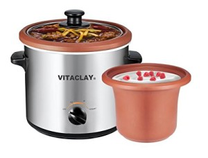 VitaClay VS7600-2C 2-in-1 Yogurt Maker and Personal Slow Cooker in Clay, Stainless Steel