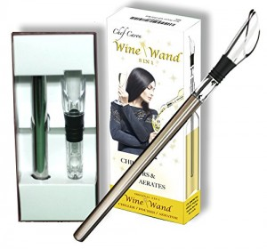 Chef Caron Wine Wand (TM) - The Original Pourer, Aerator & Iceless Chiller - 3 in 1 Accessory - Stainless Steel Rod & Drip-free Acrylic Pour Spout