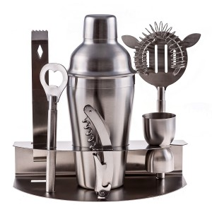 Cuisine Prefere Pro Stainless Steel Bartender Martini Shaker Cocktail Bar Tool Set with Strainer Corkscrew Bottle Opener Jigger Ice Tongs and Storage Rack