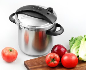 Culina One-Touch Pressure Cooker. Stovetop, 6 Qt. Stainless Steel With Steamer Basket