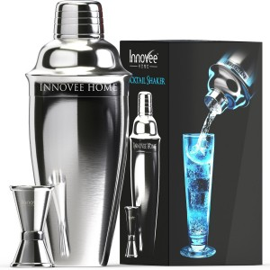 Innovee Cocktail Shaker - Premium Bar Set w Free Jigger & Recipes(e-book) 24oz w Built-in Strainer
