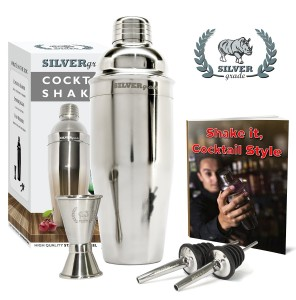 Premium SST Cocktail Shaker Set Bundle w Jigger, Pourers and over 50 Recipes 24oz Martini Bar Kit