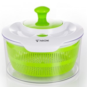 Salad Spinner with Large 5.0 Quart Bowl, Storage Lid and Lettuce Knife.