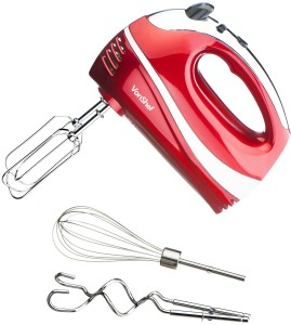 VonShef Professional 250W Hand Mixer Whisk With Chrome Beater, Dough Hook, 6 Speed With Turbo Button + FREE Balloon Whisk (Red)
