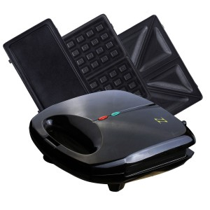 ZZ S61421 3 in 1 Sandwich Waffle and Breakfast Maker with Non-stick Plates, Black