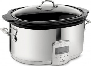 All-Clad 99009 Polished Stainless Steel Slow Cooker with Black Ceramic Insert, 6.5-Quart, Silver