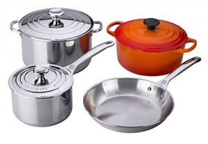 Le Creuset SS14SS7-2 7-Piece Stainless Steel and Enameled Cast Iron Cookware Set, Flame