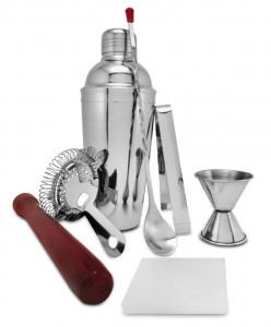 On The Rox 9-Piece Stainless Steel 24 Ounce Bartender Cocktail Shaker with Bar Tools and Accessories (9 Piece Set)