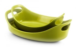 Rachael Ray Stoneware 1-14-Quart and 2-14-Quart Oval Bubble & Brown Baker Set, Green