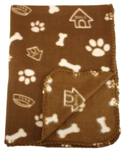 30x21 Inch Dog Cat Fleece Blanket - Bone and Paw Print Assorted Color Pet Blankets by bogo Brands