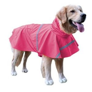 BINGPET BA1065 Adjustable Dog Raincoat Pet Puppy Lightweight Rain Jacket Poncho with Strip Reflective
