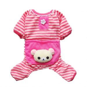 Cute Bear Comfy Dog Pajams Dog Shirt Stripes Dog Jumpsuit Pet Dog Clothes