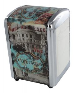 French Napkin Dispenser Cote D'Azur - Diner Style - H 6 X L 4 X W 4 - Plus a Refill Bag
