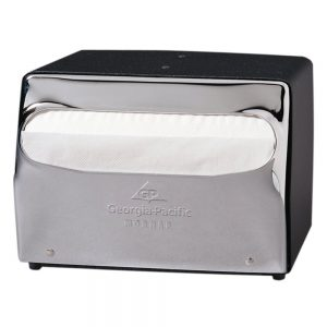 Georgia-Pacific MorNap 51602 Black & Chrome Full Fold Table Model Napkin Dispenser, (WxDxH) 7.500 x 6.000 x 5.375
