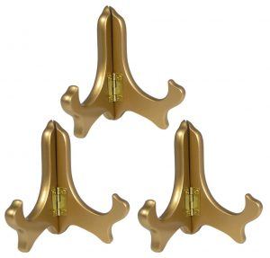 Gold Metallic Wood Easels Premium Quality Folding Display Plate Stand Holder - 4 Inch - Set of 3 Pieces