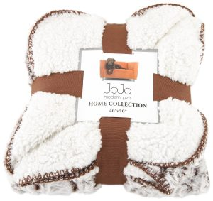 JoJo Modern Pets Home Collection Luxury Brown Brushed Fleece Dog Blanket