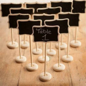 Kubert® Pack of 12 Mini Retangle Blackboard Vintage Chalkboard Place Card Holder Stand for Dessert Table Chalkboard Wordpad Message Board Holder Clip For Wedding