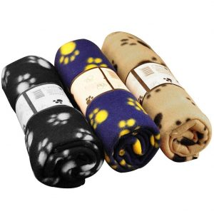 Rainbowee Set of Pet Small Dog Puppy Cat Blanket Fleece Bed Mat Cover with Paw Prints Assorted Color