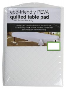 Sultan's Linens PEVA Quilted Table Pad With Flannel Backing, Waterproof, Skid Resistant (52 Round)