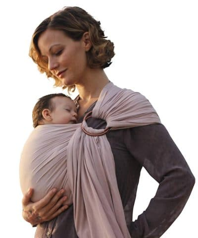 Luxury Ring Sling Baby Carrier – extra-soft bamboo and linen fabric - lightweight wrap - for newborns, infants and toddlers - perfect baby shower gift – great for new Dad too - nursing cover