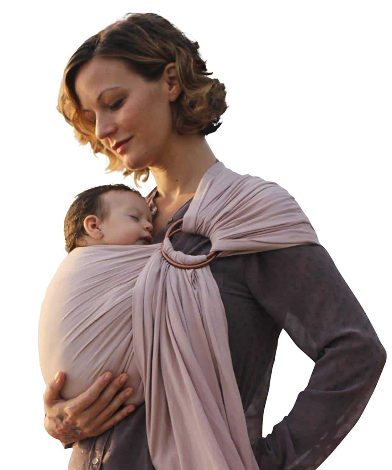 Luxury Ring Sling Baby Carrier  extra-soft bamboo and linen fabric - lightweight wrap - for newborns, infants and toddlers - perfect baby shower gift  great for new Dad too - nursing cover