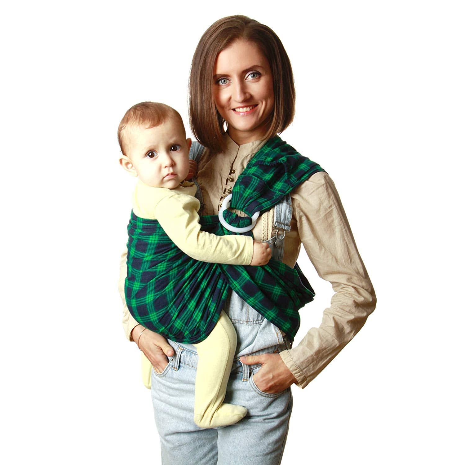 KiddyRay Ring Sling Baby Carrier Wrap  Cotton Natural Fabric  for Newborns Infants Toddlers  Baby Shower Gift  Breastfeeding Nursing Cover  Green  One Size Fits All
