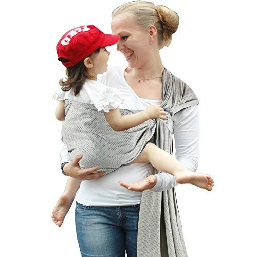 Accmor Ring Sling Baby Carrier, Breathable Mesh Baby Sling Wrap Baby Wrap Carrier for Infants and Newborn, Soft Comfortable Lightweight, Nice Baby Shower Gift Perfect for Summer (Gray)