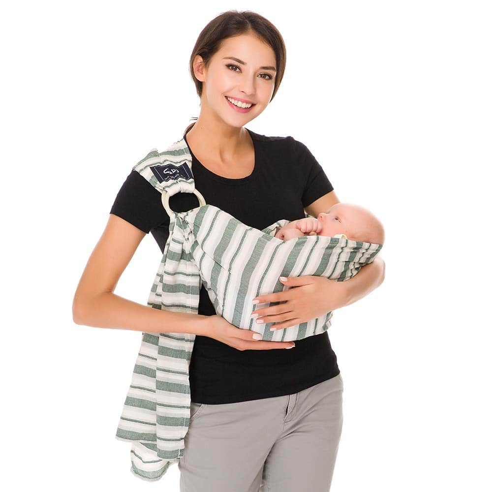 Cuby Breathable Baby Carrier Mesh Fabric, Ideal For SummersBeachhe Adjustable Ring Sling Baby Carrier. Ergo Friendly (Green stripes)