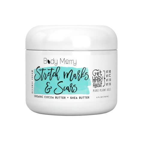 Stretch Marks & Scars Defense Cream Daily Moisturizer w Organic Cocoa Butter + Shea + Plant Oils + Vitamins to Prevent, Reduce and Fade Away Old or New Scars Best for Pregnancy, MenBodybuilders (4oz)