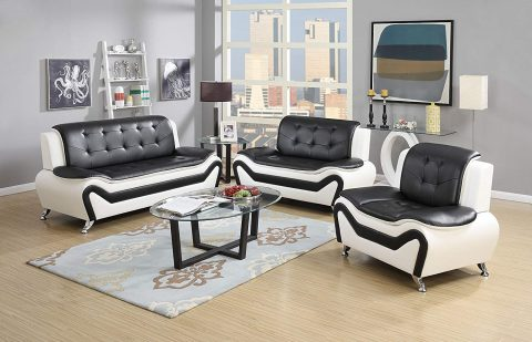 US Pride Furniture 3 Piece Modern Bonded Leather Sofa Set with Sofa, Loveseat, and Chair, WhiteBlack