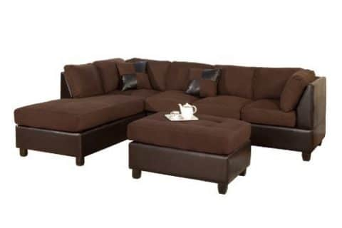 BOBKONA Hungtinton MicrofiberFaux Leather 3-Piece Sectional Sofa Set, Chocolate
