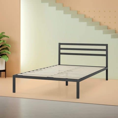Zinus Mia Modern Studio 14 Inch Platform 1500H Metal Bed Frame Mattress Foundation Wooden Slat Support With Headboard Good Design Award Winner, Queen