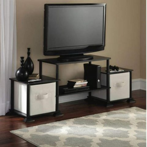 Mainstay 3-Cube Media Entertainment Center for Tvs up to 40 Plasma Television Cabinets Flat Screen Stand Stands Storage Organizer Home Living Room Furniture, (Black Oak, 1)