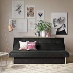 DHP Sola Convertible Sofa Futon with Space Saving Storage Compartments, Chrome Legs and Upholstered in Rich Black Microfiber